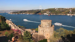 Istanbul from the Rumeli Hisari Fortress Stock Footage