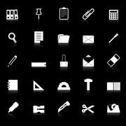 Stock Illustration of stationary icons with reflect on black background