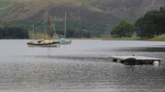 Boats on St Marys Loch, Borders, Scotland, UK Stock Footage