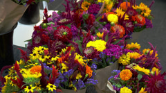 Various Flowers at Farmer's Market Stock Footage
