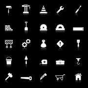 construction icons with reflect on black background - stock illustration