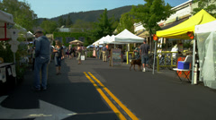 Farmer's Market in Ashland, OR, Wide Shot Stock Footage