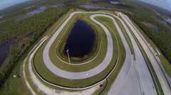 Ferrari on track, aerial view Stock Footage