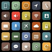Mobile phone flat icons with long shadow Stock Illustration