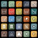 Stock Illustration of laundry flat icons with long shadow