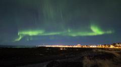 Northern lights over Reykjavik Stock Footage
