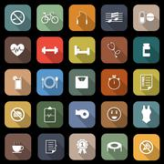 wellness flat icons with long shadow - stock illustration
