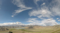 Panorma of a mountain range under a blue sky Stock Footage