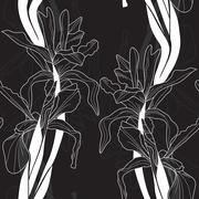 elegant seamless pattern with iris flowers for your design - stock illustration