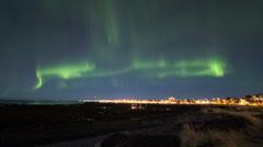 Northern lights over Reykjavik 4k Stock Footage