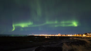 Stock Video Footage of Northern lights over Reykjavik 4k
