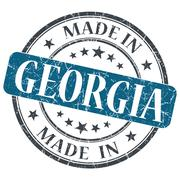 made in georgia blue round grunge isolated stamp - stock illustration