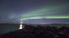 Northern lights above the Grotta lighthouse, Reykjavik, Iceland. 4k resolution Stock Footage