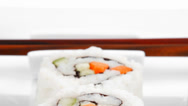 Stock Video Footage of Maki Roll with Cucumber and Salmon
