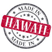 made in hawaii red round grunge isolated stamp - stock illustration