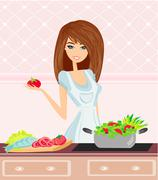 beautiful young woman cooking fresh vegetables.dieting concept.vegetarian foo - stock illustration
