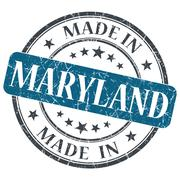made in maryland blue round grunge isolated stamp - stock illustration