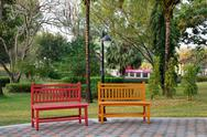 Stock Photo of wooden bench in park