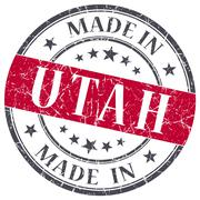 made in utah red round grunge isolated stamp - stock illustration