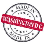 made in washington dc red round grunge isolated stamp - stock illustration