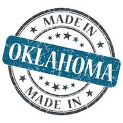 Made in oklahoma blue round grunge isolated stamp Stock Illustration