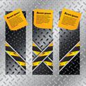 Stock Illustration of metallic labels set with x shaped grunge lines