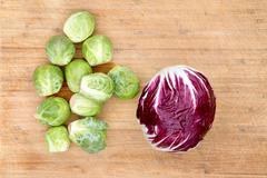 Radicchio with brussels sprouts Stock Photos