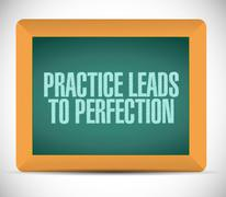 practice leads to perfection blackboard sign. - stock illustration
