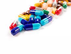 Pills on white background Stock Photos