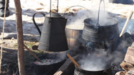 Stock Video Footage of Colonial Cookery (Revolutionary War)