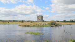 Threave Castle and The River Dee, Dumfries and Galloway, Scotland, UK Stock Footage