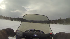 Lake Winter - Snowmobile 05 Stock Footage