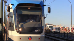Tram on Galata Bridge Stock Footage