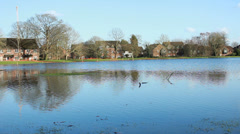 English floods 2014, park under water Stock Footage