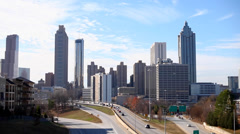 Traffic Around Atlanta Skyline Stock Footage