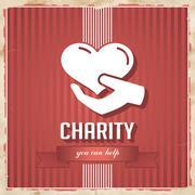 Charity on punainen raidallinen tausta on litteä muotoilu. Piirros
