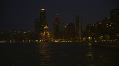Chicago Skyline & Hancock Building at Night Stock Footage