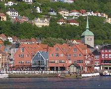 BERGEN, NORWAY - Port, Restaurants, fish market Torget in Bergen city center Stock Footage