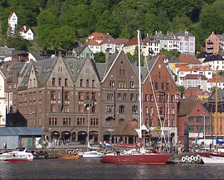 Bergen port and historic trade houses Bryggen Hanseatic town Stock Footage