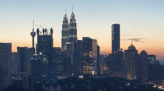 Kuala Lumpur Highway AKLEH with City Skyline in Malaysia at Blue Hour Timelapse Stock Footage