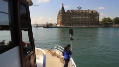 Sailing into Haydarpasa Pier Stock Footage