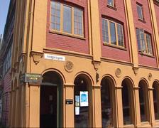 BERGEN, NORWAY - Exterior Hanseatic Museum + pan Stock Footage