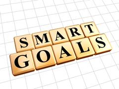smart goals in golden cubes - stock illustration