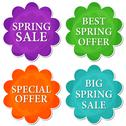 Stock Illustration of spring sale and offer in four colors flowers labels