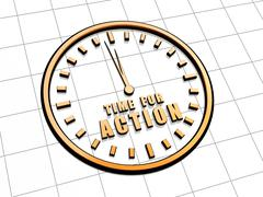 Stock Illustration of time for action in golden clock symbol