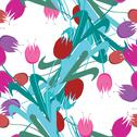 Stock Illustration of elegant seamless pattern with decorative tulips, design element