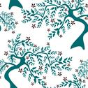Stock Illustration of elegant seamless pattern with decorative floral trees, design element