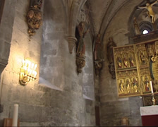 Stock Video Footage of BERGEN - interior + pan altar and communion table  St Mary s Church, Mariakirken
