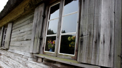 Shutters and wooden facade of the old house Stock Footage