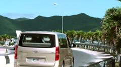 Sint Maarten Maho Beach 054 leaving airport Stock Footage